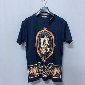 Dolce&Gabbana Men Chest Printed Dark Blue T-Shirt